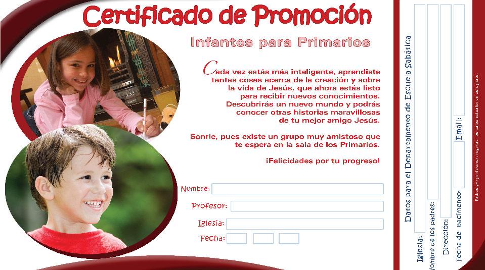 Certificado de recepción de la clase – Primarios