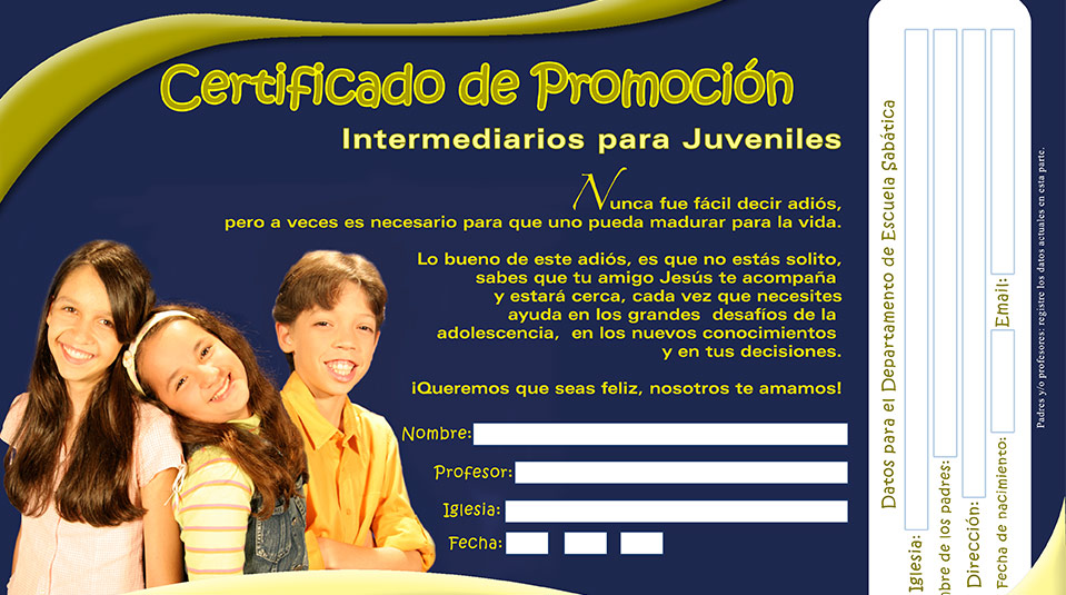 Certificado de recepción de la clase – Juvenil