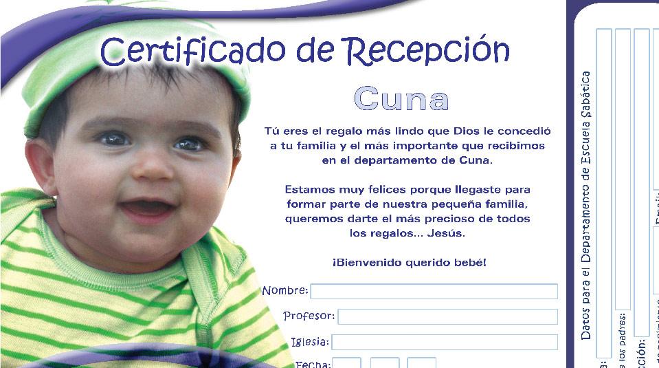 Certificado de recepción de la clase – Cuna