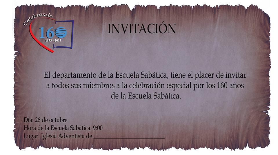 Arte Invitación: Celebrando 160 años de la Escuela Sabática