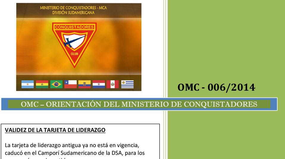 Validez de la tarjeta de liderazgo – Orientaciones del Ministerio de Conquistadores