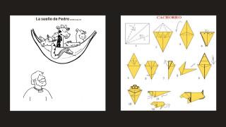 Dibujo para pintar de Pedro y el sueño con animales y un origami