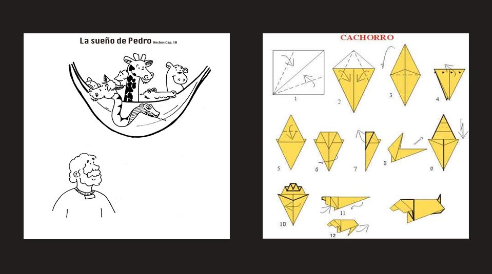 Dibujo para pintar de Pedro y el sueño con animales y un origami ...