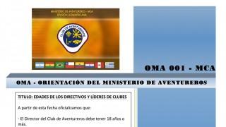 OMA 01 – Orientaciones del MInisterio de Aventureros – Edades