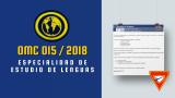 OMC 015 / 2018 – Especialidad de estudio de lenguas