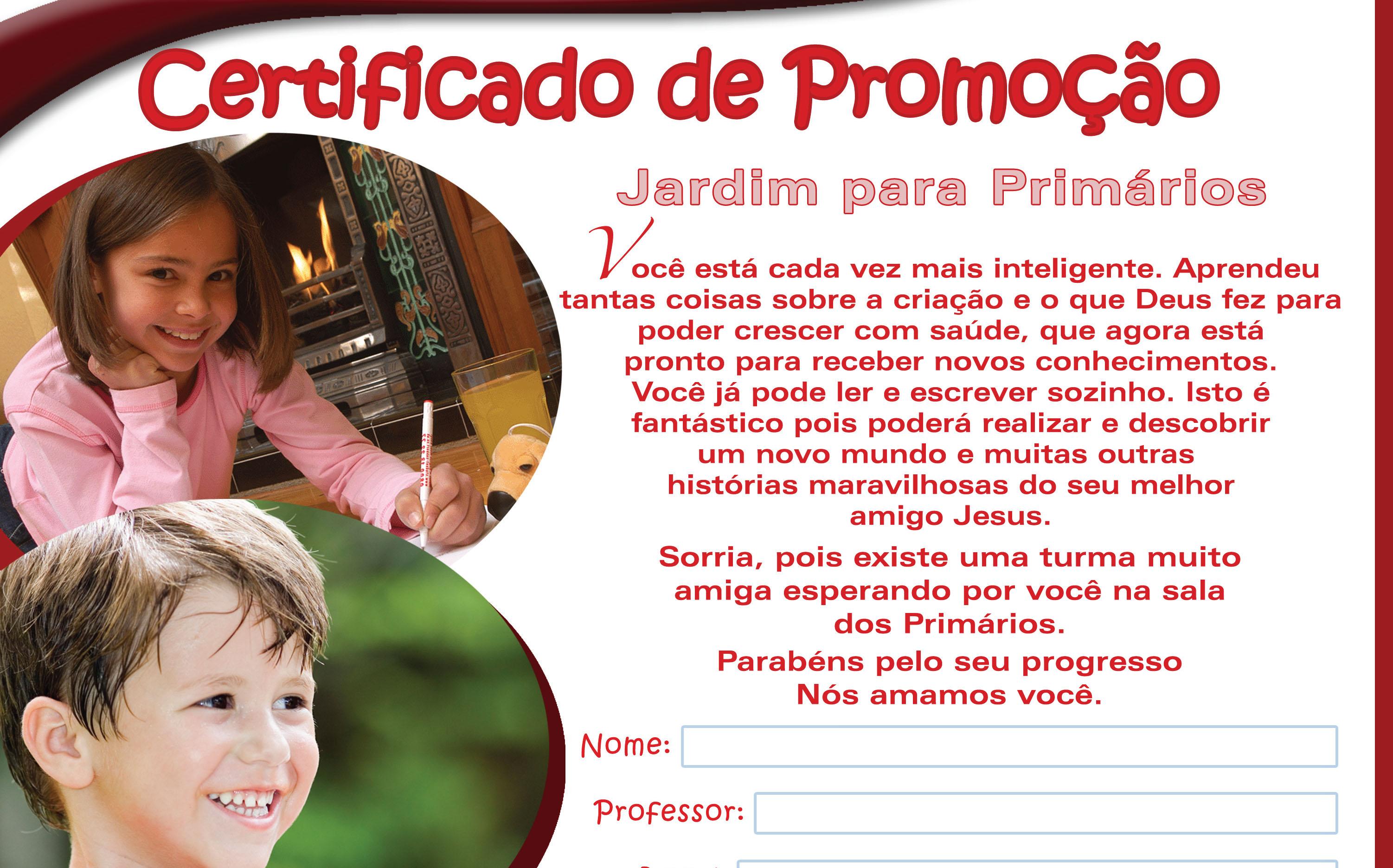 certificado jardim para primário