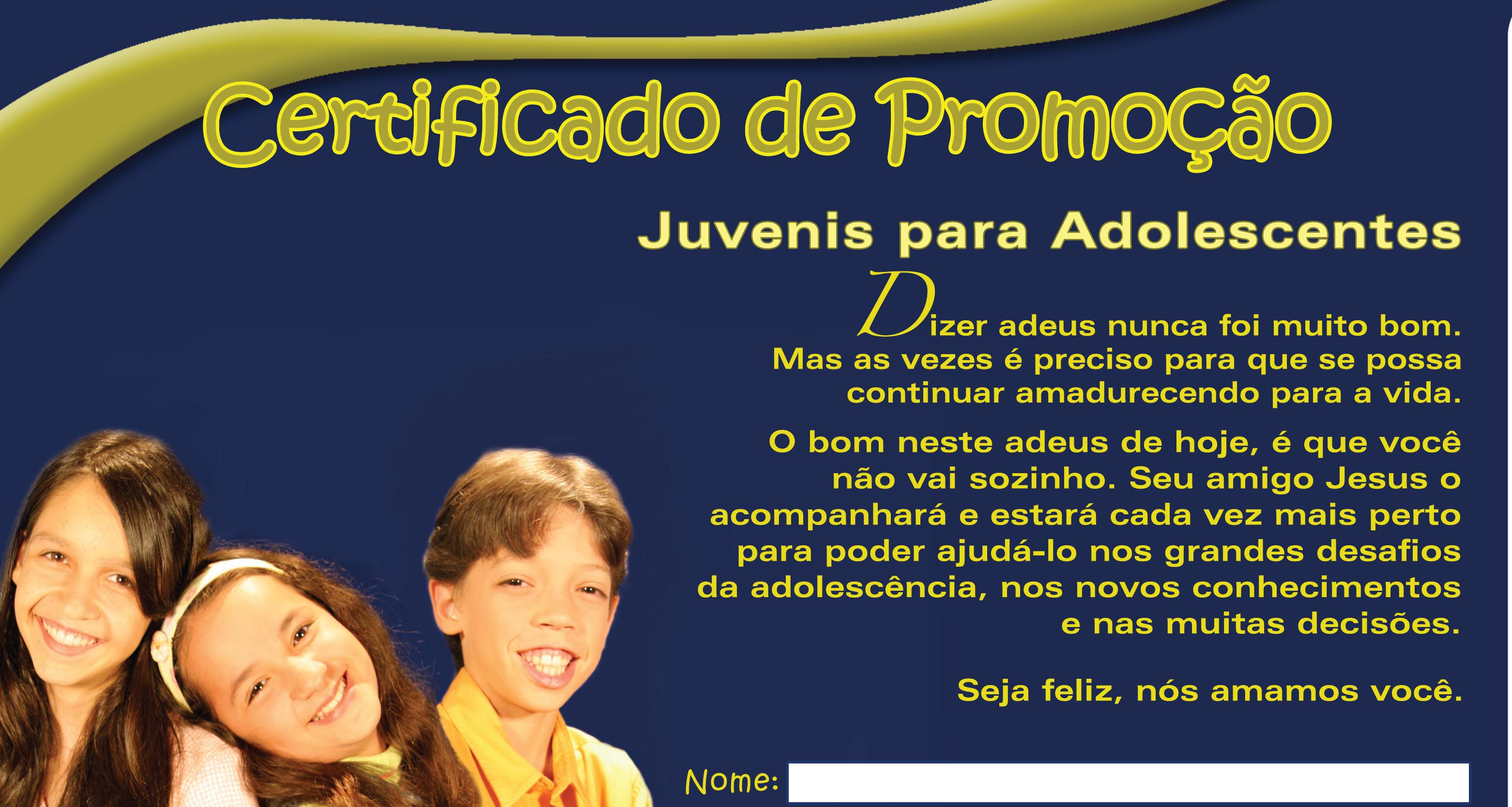 Certificado: Juvenil para Adolescente