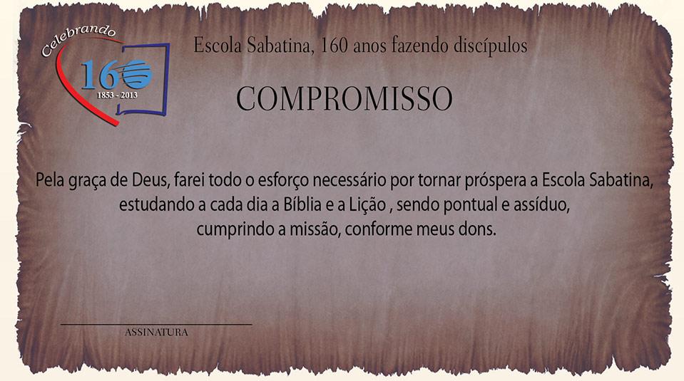 Arte: Cartão de Compromisso – 160 anos da Escola Sabatina