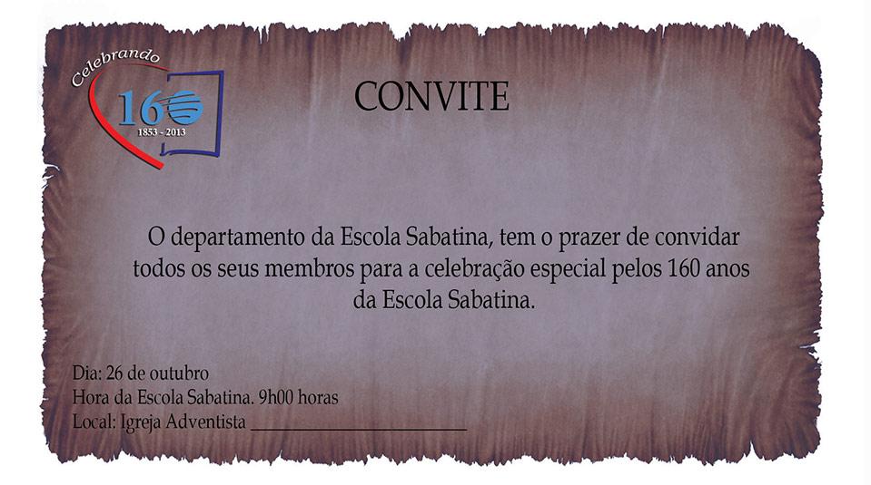 Arte: Convite – 160 anos da Escola Sabatina