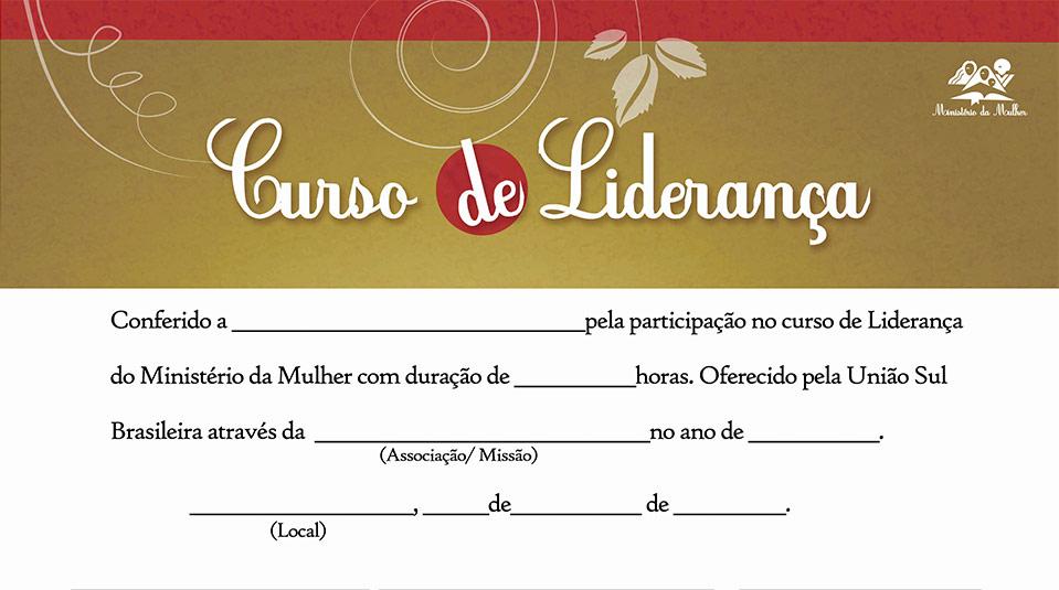 Certificado: Curso de Liderança – Ministério da Mulher