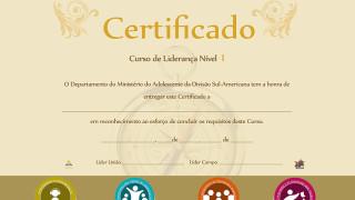 Nível 1: Certificado do Curso de liderança para Adolescentes