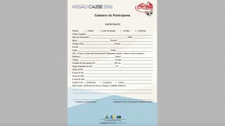 Cadastro do Participante – Missão Calebe – 2016 – AML