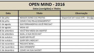 Calendário Open Mind