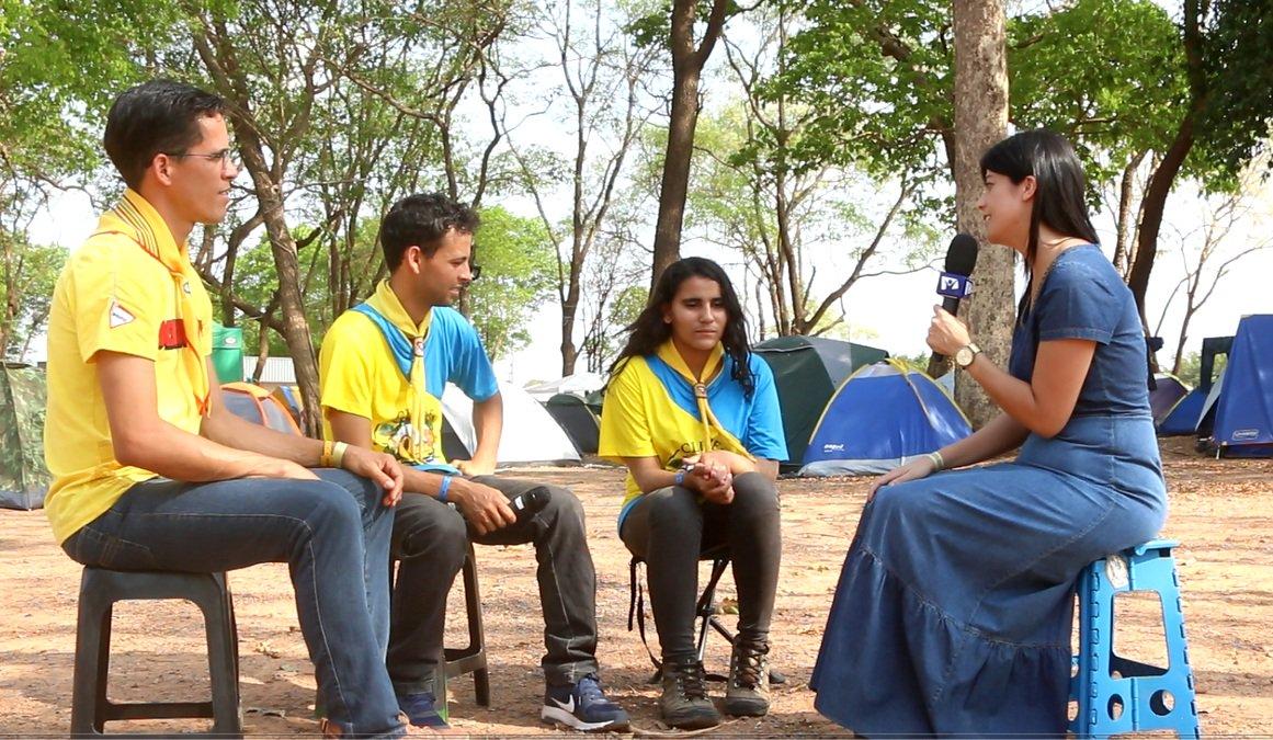 Pastor Luiz Farias Jr., Heliton Rocha, diretor de Clube e Talita Silva em entrevista para a TV Novo Tempo