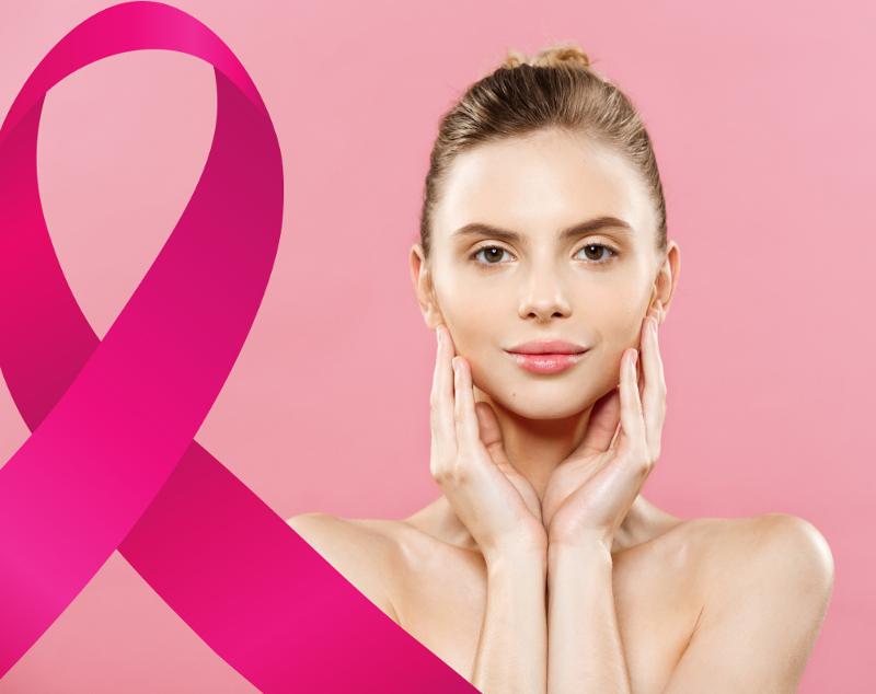 Mulher bonita com alusão ao câncer de mama