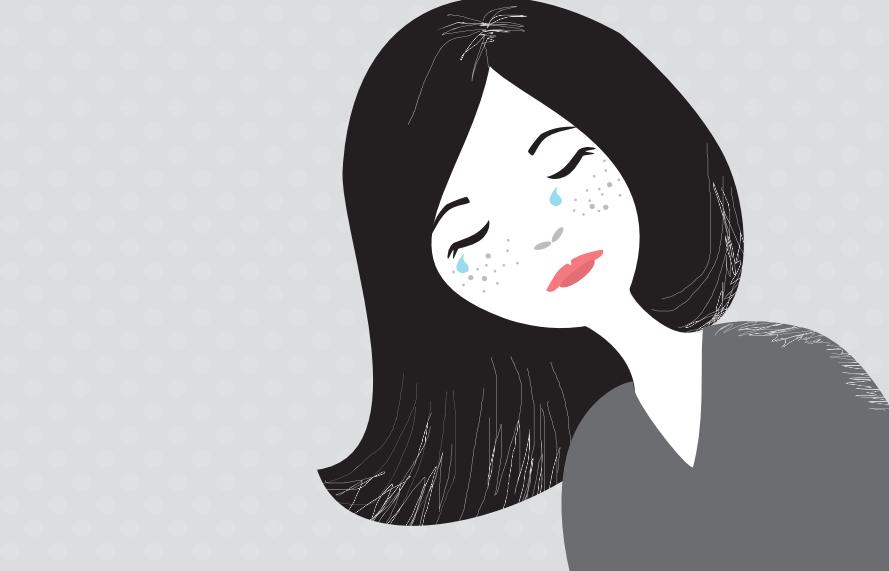 desenho mulher chorando - depressão