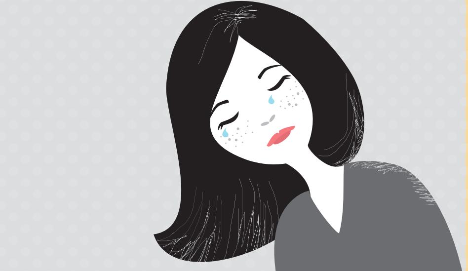 dibujo mujer llorando - depresión