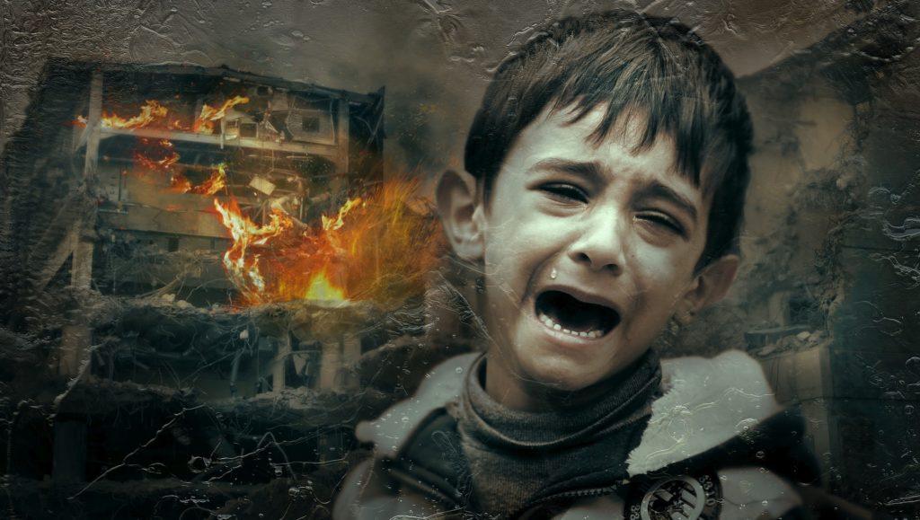 guerra, mal - niño llorando