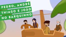 Pedro, André, Thiago e João no barquinho
