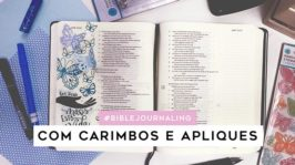 Bible Journaling com carimbos e apliques de papel