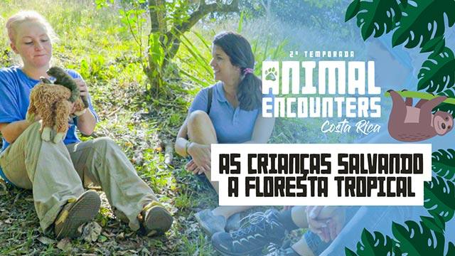 As crianças salvando a floresta tropical