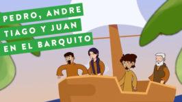 Pedro, Andre, Tiago y Juan en el barquito