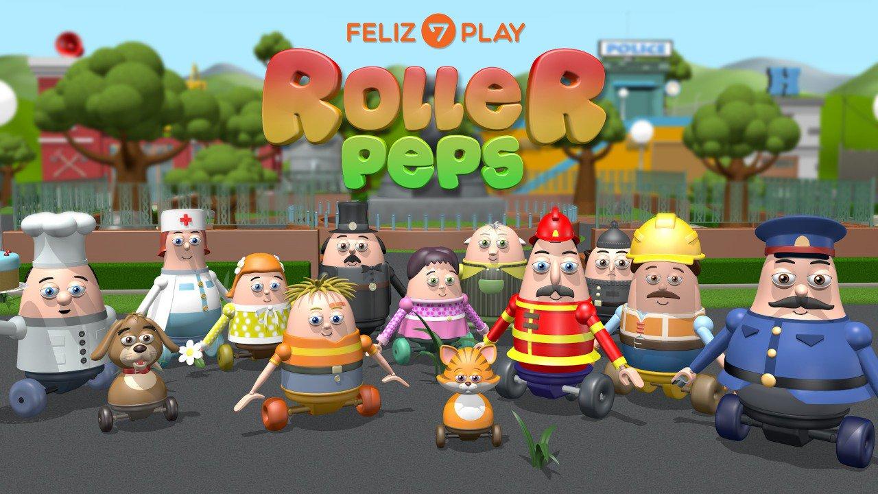 Pie de foto: Personajes de la nueva animación en 3D del Feliz7Play, Roller Peps. (Imagen: Divulgación)