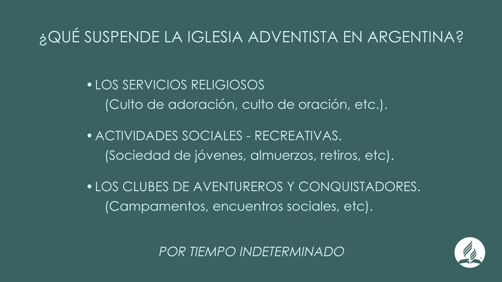 Coronavirus: la situación actual de la Iglesia Adventista en Argentina  Noticias