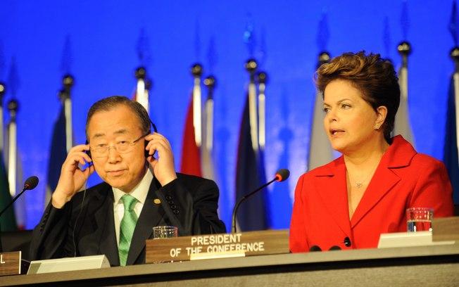 Ban Ki Moon e presidente Dilma durante encontro
