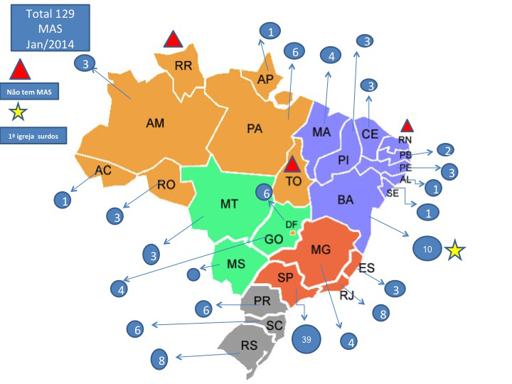 Mapa com a distribuição dos surdos adventistas no Brasil. Estado de São Paulo tem o maior número, com 39