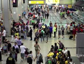 Saguão do Aeroporto Internacional de Guarulhos; o lugar serviu como ponto de trabalho missionário para voluntários da região