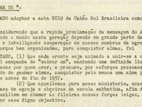 """Ata da União Sul-Brasileira, de 1937, mostra plano da Igreja Adventista de ter """"Cada Um Salvando Um"""""""