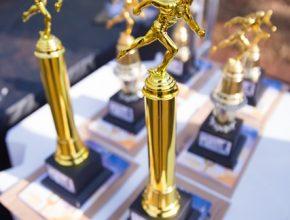 Troféu entregue aos primeiros colocados.