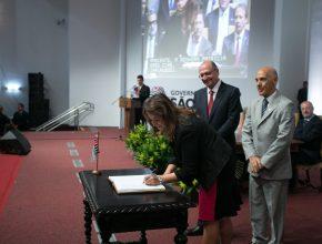 Cerimônia de posse da secretária ocorreu no Palácio dos Bandeirantes, sede do governo - Crédito: Diogo Moreira/A2 Fotografia