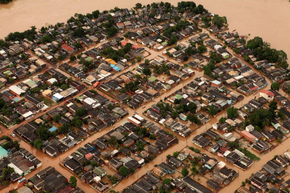 Dezenas de bairros de Rio Branco foram afetados pela enchente do Rio Acre (Foto: Sérgio Vale/Governo do Acre)
