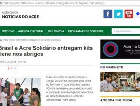 Portais divulgam ação da ADRA Brasil em prol das vítimas das cheias no Acre.
