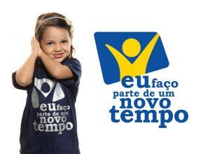 Imagem e slogan da campanha: Eu faço parte de um Novo Tempo.