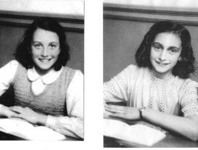 Na parte esquerda da foto está Nanette Konig ao lado sua amiga Anne Frank.