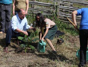 Desbravadora auxilia governador Geraldo Alckmin no plantio de uma muda de árvore