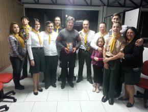 O vereador Leandro Basso recebeu a visita de Desbravadores de Erechim - RS.