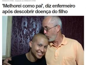 Matéria do G1 conta o desafio de Carlos e o filho Gabriel na luta contra o câncer.