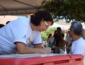 A voluntária do projeto Cidade Esperança Coraci Moreira Nelis da Silva se cadastrou e agora está à disposição para doar.
