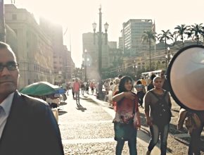 Rampogna na gravação do segundo episódio da série Coadjuvantes.
