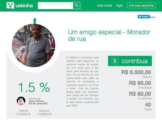 Campanha em site pede ajuda para arrecadar dinheiro a morador de rua
