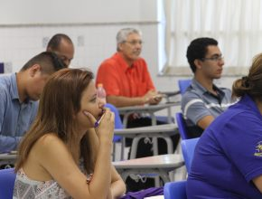 Participantes em workshop no período da manhã. (Foto/Stefani Abrão)