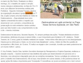Desbravadores em ação ambiental na Praça Nossa Senhora Aparecida, em São Pedro