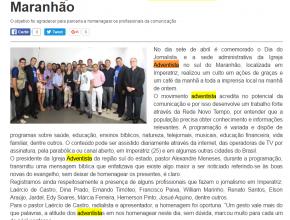 0804 - Jornalista imperatrizenses recem homenagem na sede adventista no sul do Maranhão
