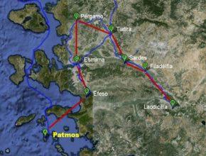 Mapa contendo as sete igrejas do Apocalipse