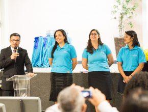 Os quatro responsáveis pela secretaria da igreja no MS: Pr. Evaldo Oliveira, Helizandra Morais, Flávia Shaffer e Thaissa Silveira.