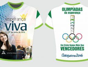 Camiseta preparada especialmente para a campanha de evangelismo que acontece no próximo mês, com a chegada da tocha olímpica à cidade.
